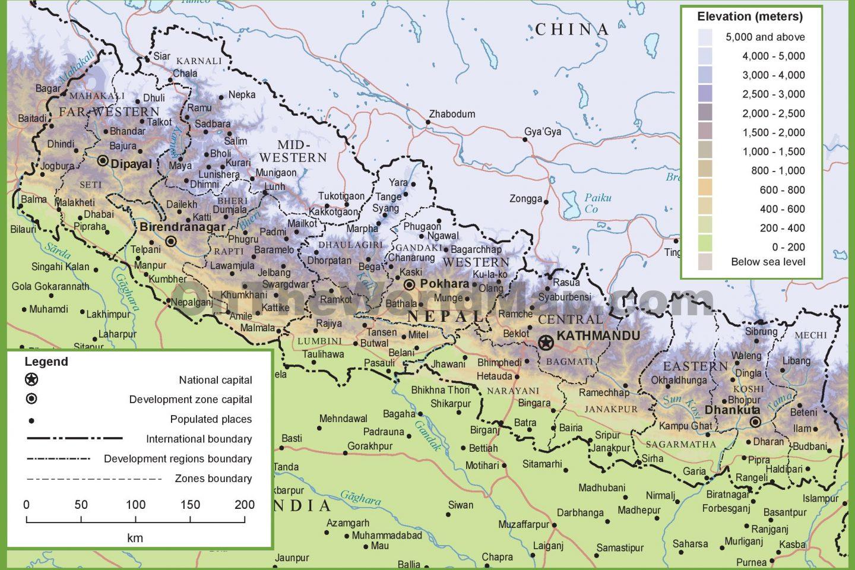 Kort over Nepal